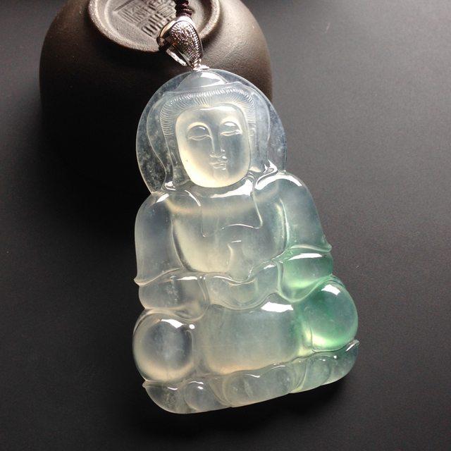 冰种飘绿翠观音 翡翠挂件 尺寸58-39-7mm