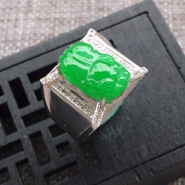 冰糯种满阳绿貔貅男士翡翠戒指