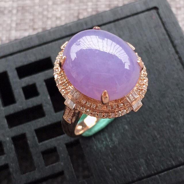 冰糯种紫罗兰女士翡翠戒指