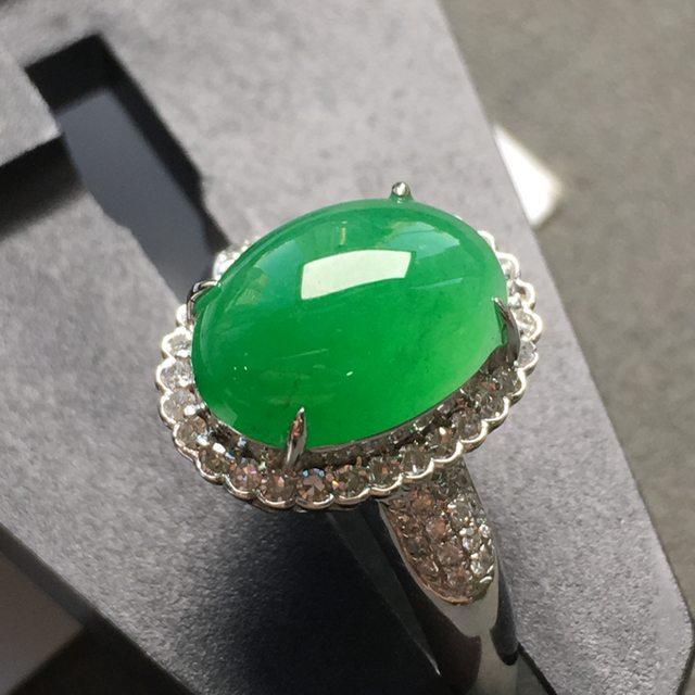 冰种满色 缅甸天然翡翠戒指 实物更漂亮
