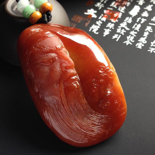 红翡关公 翡翠吊坠 尺寸66-42-19毫米