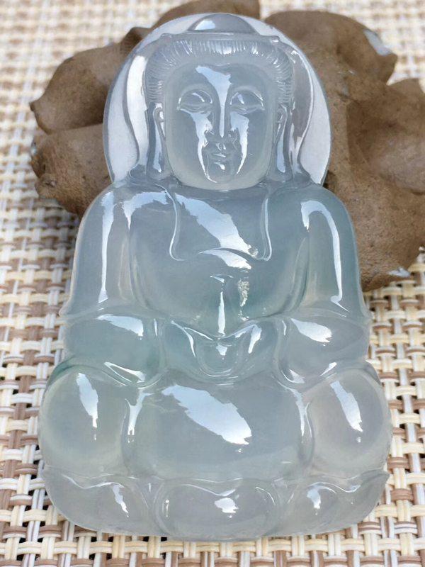 冰种晴水翡翠挂件 冰透完美起光