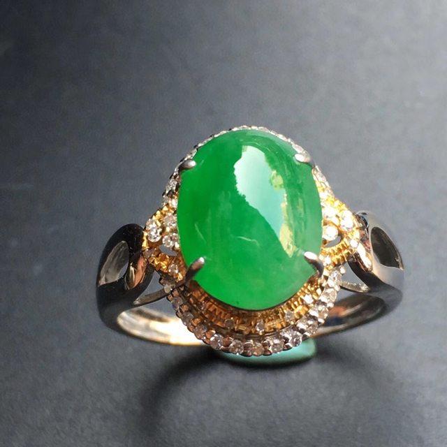 冰种阳绿 缅甸天然翡翠戒指 18k金镶嵌