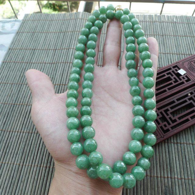 满绿豆种天然翡翠项链 珠子取大9.6mm