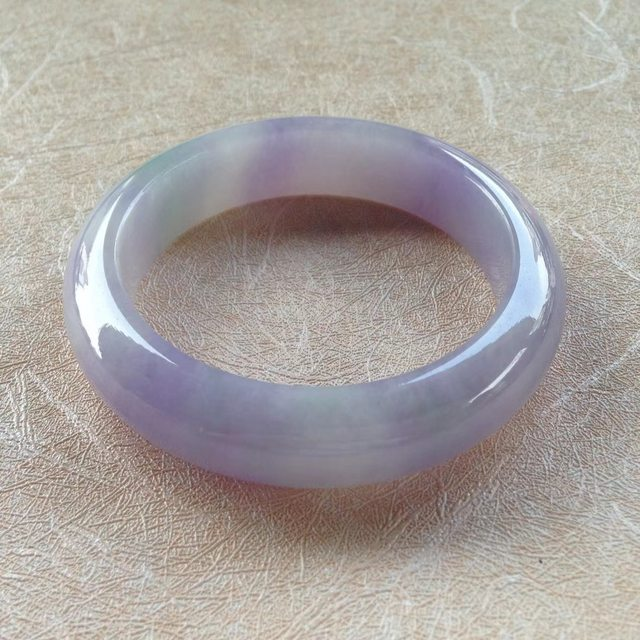 紫罗兰飘绿翡翠手镯 55.5-14-9mm