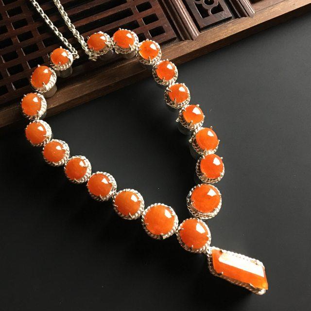 红翡蛋面天然翡翠项链 大15-5.5-4