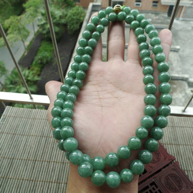 好种满绿圆珠翡翠项链取一9.5mm