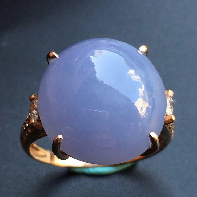 冰种紫罗兰 缅甸天然翡翠戒指 大小15.3*14.7*9.5mm