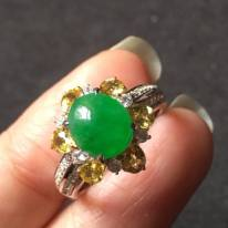 8.57.54寸冰种正阳绿 缅甸天然翡翠戒指