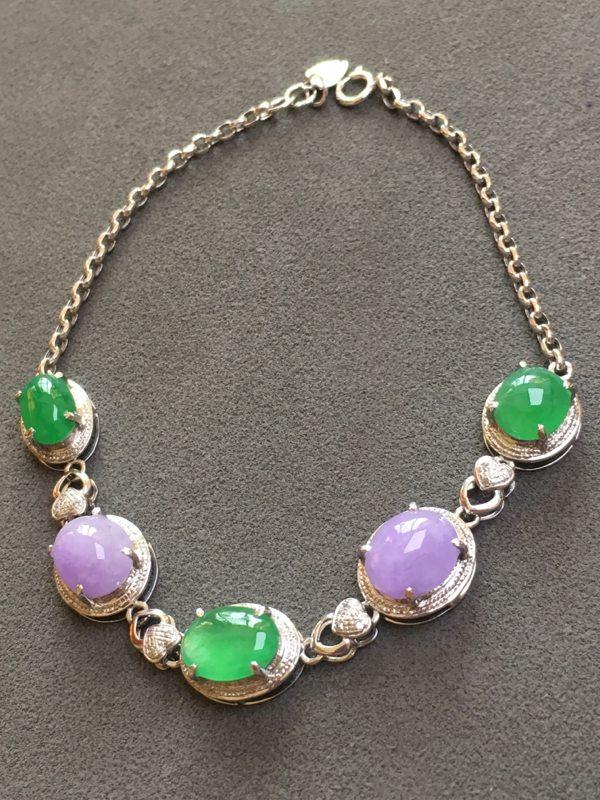 冰种紫加绿 天然翡翠手链图3