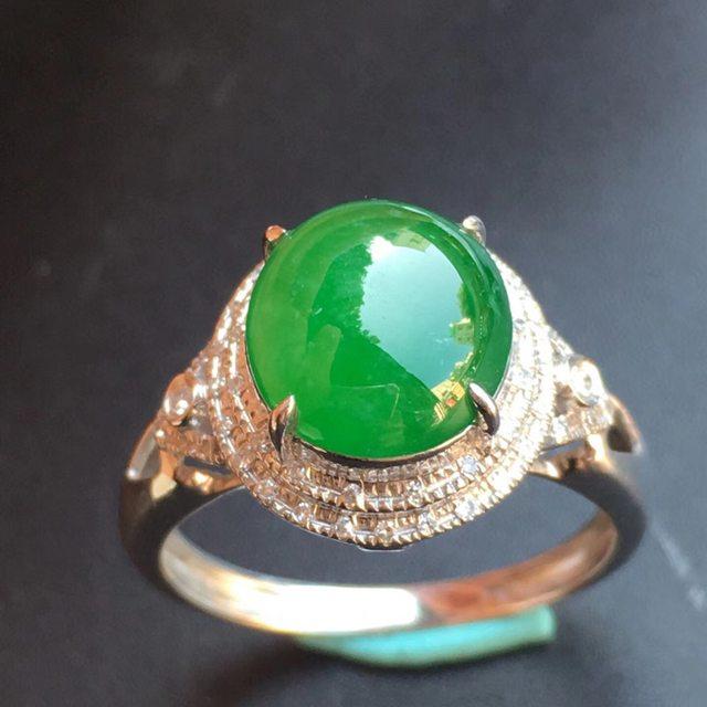 冰种满绿 缅甸天然翡翠戒指大小9.6*8.8*5mm