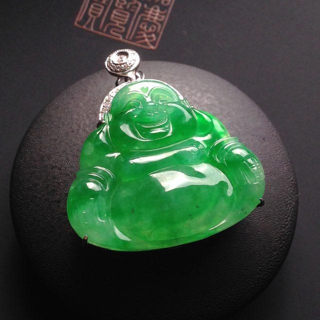 冰种阳绿翡翠吊坠 裸石25-27-5毫米