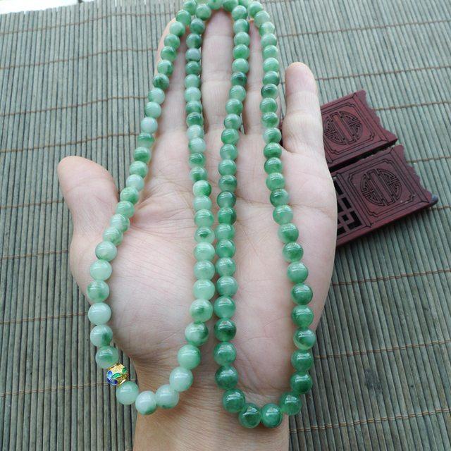 飘绿天然翡翠圆珠项链 珠大取一7.2mm