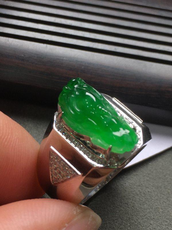 冰种满绿貔貅 缅甸天然翡翠戒指