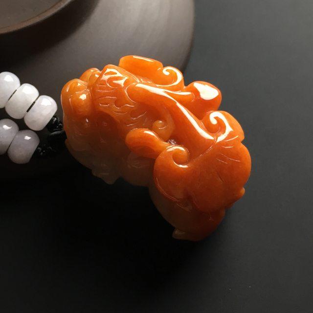 红翡招财貔貅 翡翠吊坠 尺寸39-25-20毫米