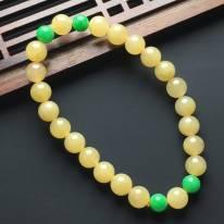 糯化种黄加绿翡翠佛珠手串