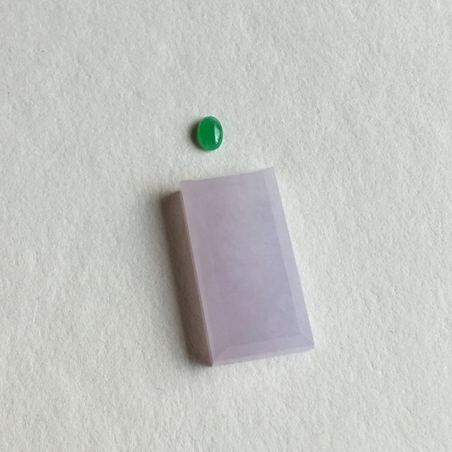 冰种粉紫 缅甸天翡翠平安无事牌 尺寸 24.3x12.7x5.2 毫米