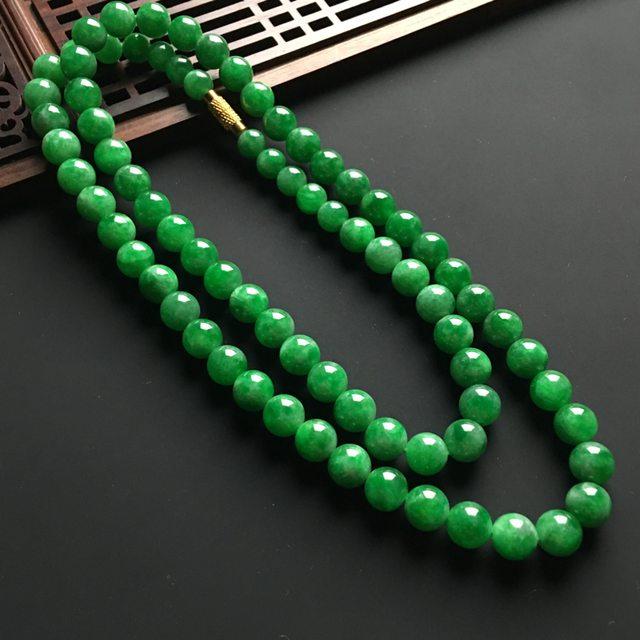 冰阳绿佛珠翡翠项链 直径7.8mm