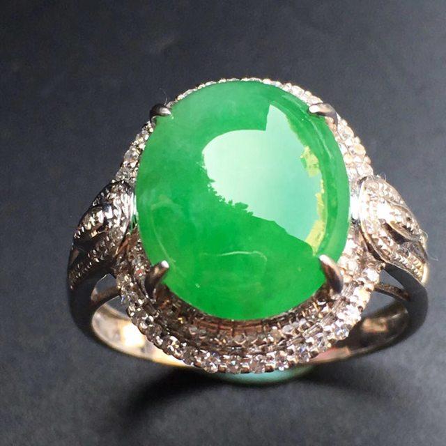 冰种阳绿蛋面 缅甸天然翡翠戒指
