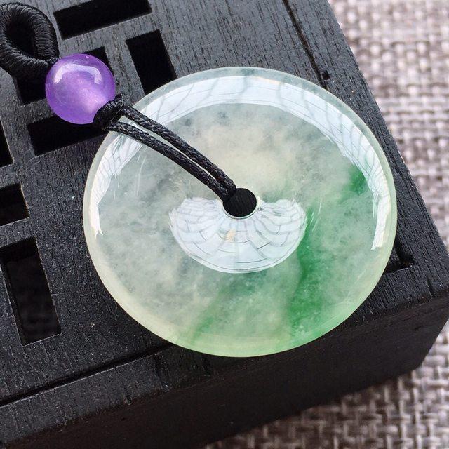 冰种飘阳绿平安扣吊坠 尺寸26.3*4.2mm