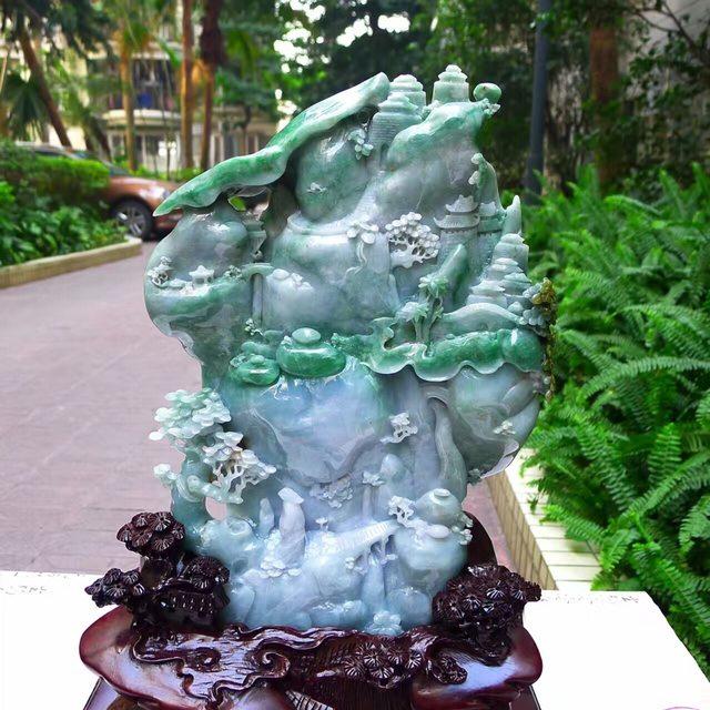 老坑紫羅蘭飄陽綠 翡翠A貨 步步高升山水擺件