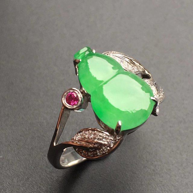 13*9.2*3mm冰种阳绿葫芦 缅甸天然翡翠戒指