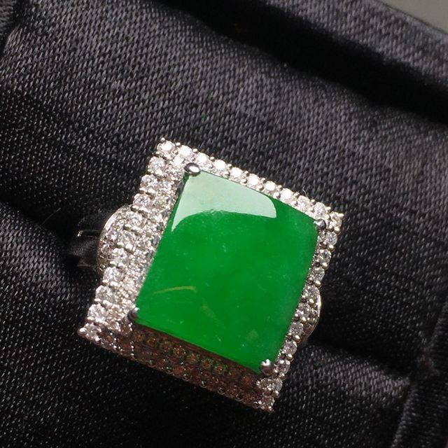 冰种阳绿 翡翠戒指 料子细腻冰透水润
