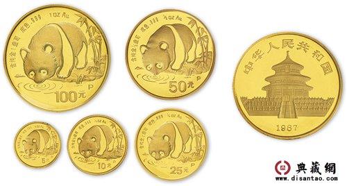 87年熊猫金银币