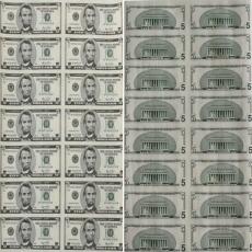5美元16连体钞 美元整版钞