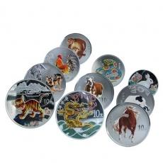 1998-2009年十二生肖1盎司彩色银币大全套