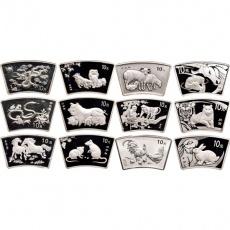 2000-2011年十二生肖1盎司扇形本银币大全套(12枚)