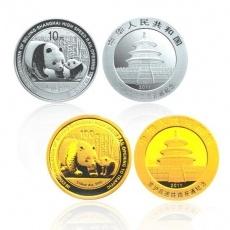 2011年京沪高速铁路开通熊猫加字本金银套币(1/4盎司金+1盎司银)