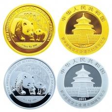 2011年新中国航空工业建立60周年熊猫加字金银币