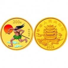 2002年中国民间神话故事第2组1/2盎司彩金币 夸父追日