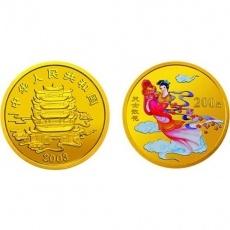 2003年中国民间神话故事第3组1/2盎司彩金币 天女散花