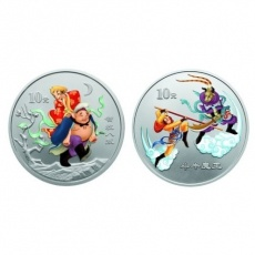 2004年中国古典文学名著西游记第2组1盎司彩银套币