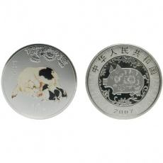 2007年丁亥猪年生肖1盎司彩银币