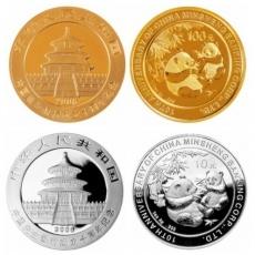 2006年中国民生银行成立10周年熊猫加字本金银套币(1/4盎司金+1盎司银)