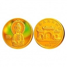 2004年幻彩观音1/10盎司彩金币白衣观音彩金币