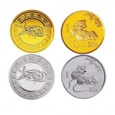 2008年戊子鼠年生肖本金银套币