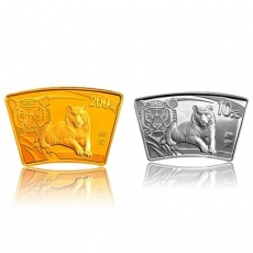 2010年庚寅虎年生肖扇形本金银套币