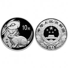 2011年辛卯兔年生肖1盎司本银币
