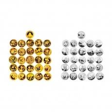 2007年中国熊猫金币发行25周年本金银套币 1/25盎司纯金+1/4盎司纯银