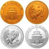 2004年中国建设银行成立50周年熊猫加字本金银套币(1/4盎司金+1盎司银)