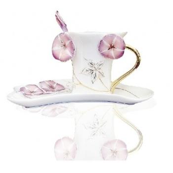 精品珐琅彩瓷紫色牵牛花 咖啡杯