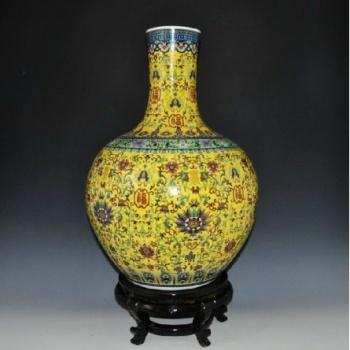 珐琅彩瓷器 粉彩瓷器福寿纹大花瓶