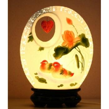 珐琅彩瓷灯 鸳鸯戏水