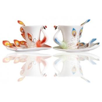 珐琅孔雀咖啡杯情侣杯子