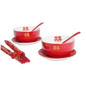 陶瓷对碗双喜红碗六件套 喜庆结婚碗