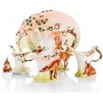 陶瓷咖啡具珐琅瓷长寿花鹿咖啡杯